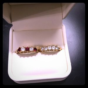 Gold rings. Cubic zirconia. Red and white. White.